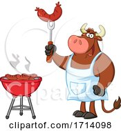 Bull BBQ Chef Grilling Sausages by Hit Toon