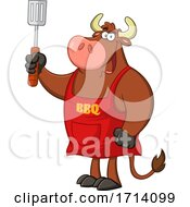 Poster, Art Print Of Bull Bbq Chef Holding A Spatula