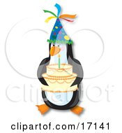 Cute Penguin Bird Wearing A Party Hat And Serving A Birthday Cake With A Lit Candle On It Clipart Illustration by Maria Bell