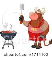 Bull BBQ Chef Grilling Sausages On A Barbeque by Hit Toon