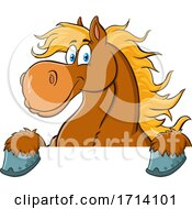 Happy Brown Draft Horse Over A Sign by Hit Toon
