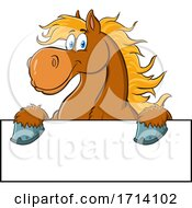 Happy Brown Draft Horse Over A Sign