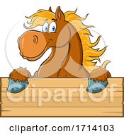 Happy Brown Draft Horse over a Sign by Hit Toon #COLLC1714103-0037