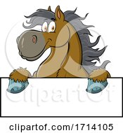 Happy Draft Horse over a Sign by Hit Toon #COLLC1714105-0037