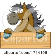 Happy Draft Horse over a Sign by Hit Toon #COLLC1714106-0037