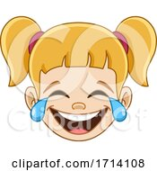 Blond Haired Girl With A Laughing And Crying Expression