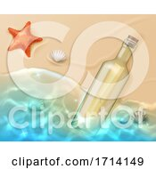 Scroll In Glass Bottle With Cork On Beach