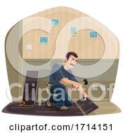 Happy Man Installing Flooring