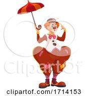 Poster, Art Print Of Clown Holding An Umbrella