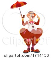 Clown Holding An Umbrella by Vector Tradition SM
