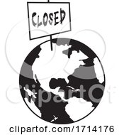 Poster, Art Print Of Black And White World Globe With A Closed Sign
