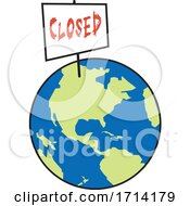 Poster, Art Print Of World Globe With A Closed Sign