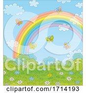 Poster, Art Print Of Rainbow And Butterflies