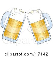 Two Frothy Beer Mugs Clanking Together While Toasting Clipart Illustration