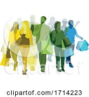Group Of Colorful People Shopping