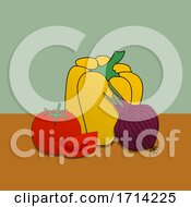 Hand Drawn Colorful Vegetables Background
