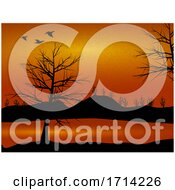 Nature Countryside View with Trees and Ducks Silhouette by elaineitalia #COLLC1714226-0046