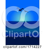 Seagull Silhouettes on Sea Scene View Background by elaineitalia #COLLC1714227-0046