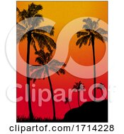 Textured Grain Tropical Background With Palm Trees