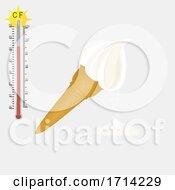 Poster, Art Print Of Vanilla Ice Cream Cone Melting At 31 Degree Celsius
