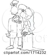 Cartoon Black And White Coronavirus Bride And Groom Wearing Masks