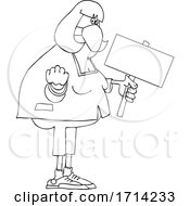 Cartoon Black And White Chubby Woman Holding Up A Fist And Blank Sign