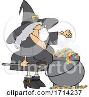 Cartoon Witch Wearing A Mask And Making A Spell In Her Cauldron