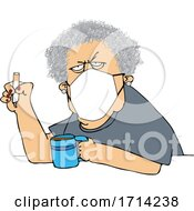 Poster, Art Print Of Cartoon Grumpy Old White Woman Wearing A Mask And Smoking A Cigarette Over Coffee
