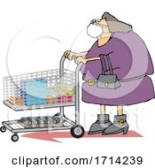 Cartoon Chubby Woman Wearing A Mask And Grocery Shopping