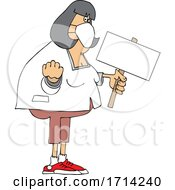 Cartoon Chubby White Woman Holding Up A Fist And Blank Sign