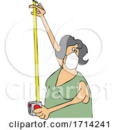 Cartoon Woman Wearing A Mask And Using A Tape Measure
