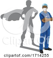 Superhero Nurse Doctor With Super Hero Shadow