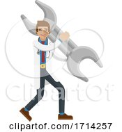Poster, Art Print Of Doctor Man Holding Spanner Wrench Concept Mascot