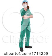 Doctor Or Nurse Woman In Medical Scrubs Unifrom