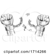 Hands Breaking Chain Shackle Handcuffs