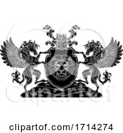 Poster, Art Print Of Crest Pegasus Horses Coat Of Arms Lion Shield Seal