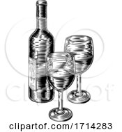 Poster, Art Print Of Wine Bottle And Glasses Vintage Woodcut Etching