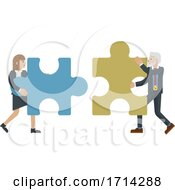 Poster, Art Print Of Puzzle Piece Jigsaw Characters Business Concept