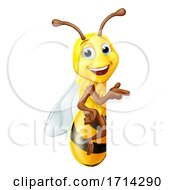 Bumble Honey Bee Bumblebee Cartoon Character Sign by AtStockIllustration