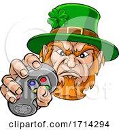 Poster, Art Print Of Leprechaun Gamer Mascot And Video Games Controller