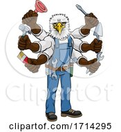 Poster, Art Print Of Eagle Multitasking Handyman Holding Tools