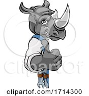 Poster, Art Print Of Rhino Plumber Mechanic Handyman Peeking Sign