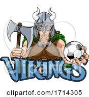 Poster, Art Print Of Viking Female Gladiator Soccer Warrior Woman
