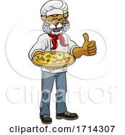 Wildcat Pizza Chef Cartoon Restaurant Mascot