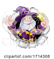 Wizard With Wand Breaking Through Background