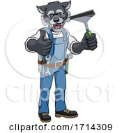 Wolf Car Or Window Cleaner Holding Squeegee