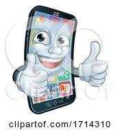 Mobile Phone Thumbs up Cartoon Mascot by AtStockIllustration #COLLC1714310-0021