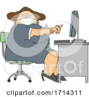 Cartoon Chubby White Woman Wearing A Mask And Working At A Desk