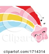 Poster, Art Print Of Painted Style Cute Shooting Star With A Rainbow