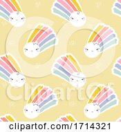 Seamless Pattern Of Cute Suns With Rainbows